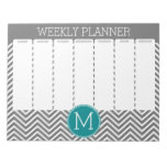 Turquoise and Charcoal Chevrons Custom Monogram Memo Notepads