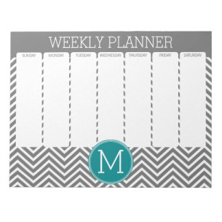 Turquoise and Charcoal Chevrons Custom Monogram Notepad