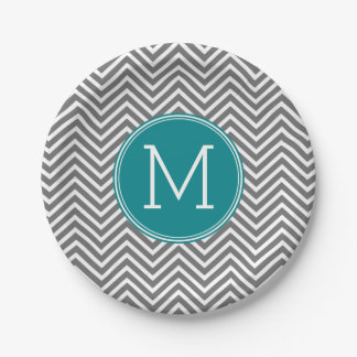 Turquoise and Charcoal Chevrons Custom Monogram Paper Plate