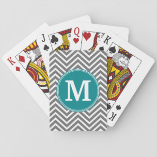 Turquoise and Charcoal Chevrons Custom Monogram Playing Cards
