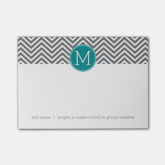 Turquoise and Charcoal Chevrons Custom Monogram Post-it® Notes