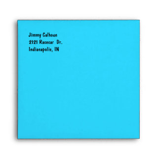 Turquoise and Checkerboard Invitation Envelope