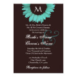 Turquoise and Chocolate Sunflower Wedding Template Personalized Invitations