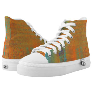Turquoise and Copper Design High-Top Sneakers