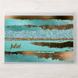 "Turquoise and Copper Faux Foil and Glitter HP Laptop Skin<br><div class=""desc"">Glamorous HP EliteBook laptop skin done in faux glitter and foil graphic textures,  in a turquoise and copper abstract striped pattern.  Personalize the custom text to read what you want.</div>"