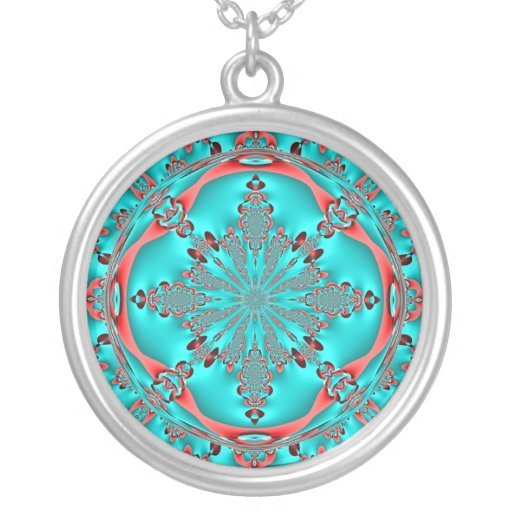 Turquoise and Copper Lace Necklace