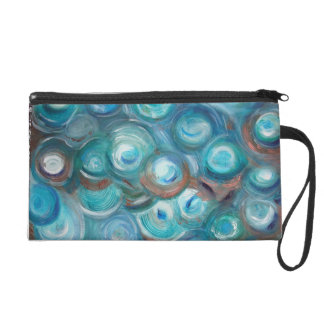 Turquoise and Copper Swirlies Wristlet Purse