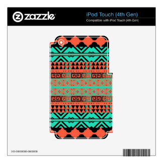Turquoise and Coral Aztec Inspired Phone Case Decals For iPod Touch 4G