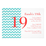 Turquoise and Coral Chevron Birthday Invitation