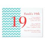 Turquoise and Coral Chevron Birthday Invitation