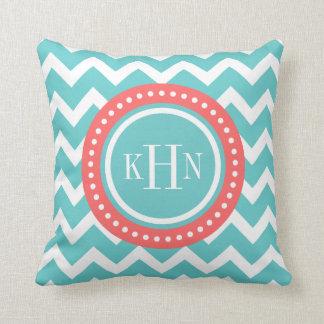 Turquoise and Coral Chevron Monogram Pillow