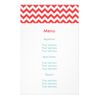Turquoise and Coral Chevron Wedding Flyer