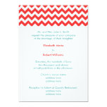 Turquoise and Coral Chevron Wedding Invitation