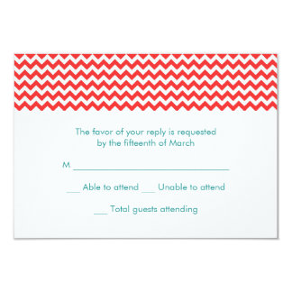 Turquoise and Coral Chevron Wedding RSVP Card