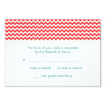 Turquoise and Coral Chevron Wedding RSVP Card Invitation
