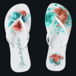 """Turquoise and Coral Floral Tropical Wedding Favor Flip Flops<br><div class=""""desc"""">Turquoise and coral roses and tropical foliage summer wedding favors designed to be quickly and easily customized to your event specifics.</div>"""