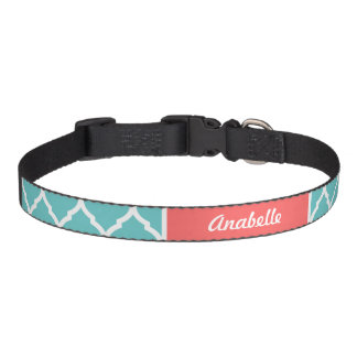 Turquoise and Coral Quatrefoil Monogram Pet Collar