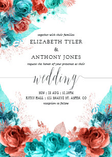 Coral And Turquoise Wedding Invitations Zazzle