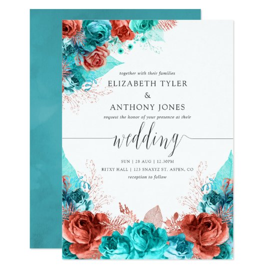 Coral And White Wedding Invitations: Turquoise And Coral Rustic Floral Wedding Invitation