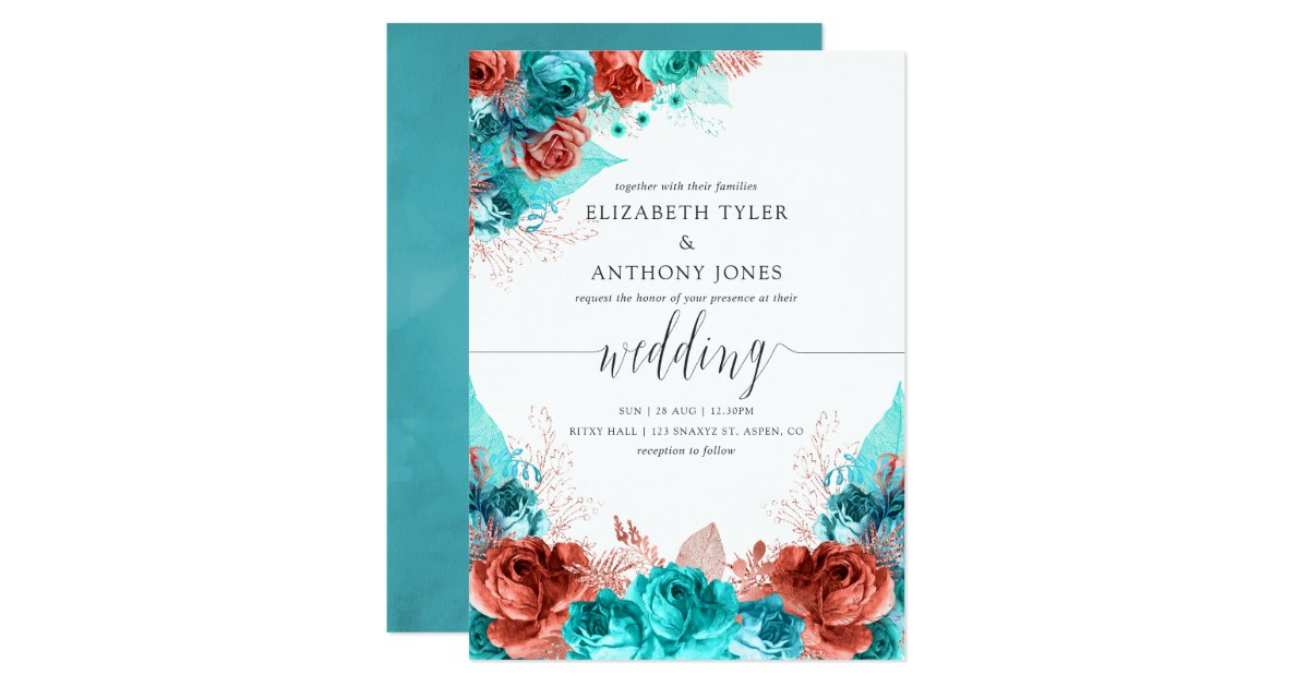 Turquoise And Coral Wedding Invitations: Turquoise And Coral Rustic Floral Wedding Invitation
