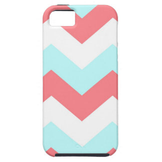 Turquoise and coral zig zag chevrons iPhone 5 case