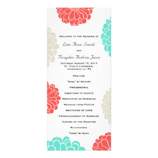 Turquoise and Coral Zinnia Flower Wedding Program Personalized Rack Card