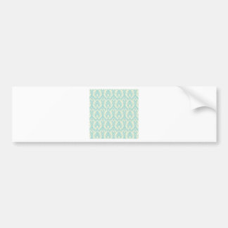 Turquoise and Cream Damask Bumper Sticker