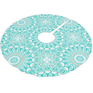 Turquoise and Cream Kaleidoscope Flowers Design Brushed Polyester Tree Skirt