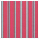 [ Thumbnail: Turquoise and Crimson Colored Stripes Fabric ]
