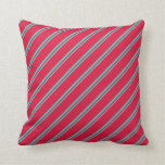 [ Thumbnail: Turquoise and Crimson Colored Stripes Throw Pillow ]