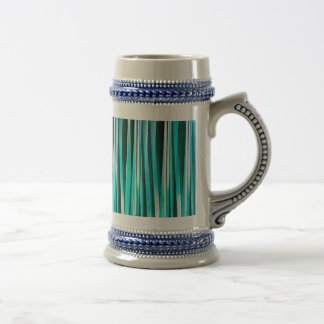 Turquoise and Cyan Ocean Stripy Lines Pattern Beer Stein