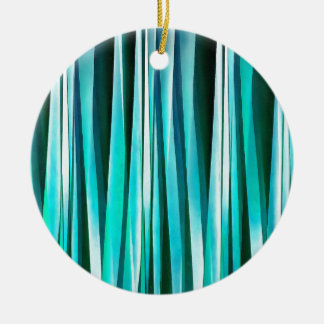Turquoise and Cyan Ocean Stripy Lines Pattern Ceramic Ornament