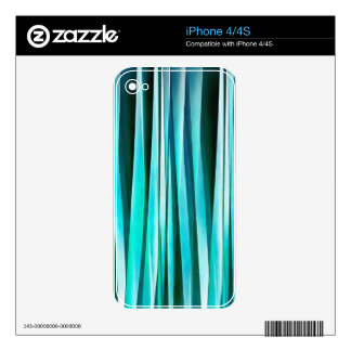 Turquoise and Cyan Ocean Stripy Lines Pattern Skin For The iPhone 4