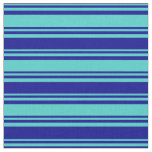 [ Thumbnail: Turquoise and Dark Blue Colored Lines Fabric ]