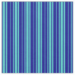 [ Thumbnail: Turquoise and Dark Blue Colored Lines Pattern Fabric ]