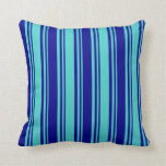 [ Thumbnail: Turquoise and Dark Blue Colored Lines Throw Pillow ]