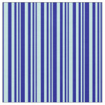 [ Thumbnail: Turquoise and Dark Blue Colored Stripes Pattern Fabric ]