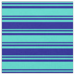 [ Thumbnail: Turquoise and Dark Blue Striped/Lined Pattern Fabric ]