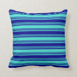 [ Thumbnail: Turquoise and Dark Blue Striped/Lined Pattern Throw Pillow ]