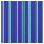 [ Thumbnail: Turquoise and Dark Blue Stripes/Lines Pattern Fabric ]