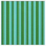 [ Thumbnail: Turquoise and Dark Green Colored Pattern Fabric ]