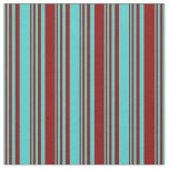 [ Thumbnail: Turquoise and Dark Red Colored Lined Pattern Fabric ]