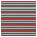 [ Thumbnail: Turquoise and Dark Red Colored Lines Fabric ]