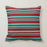 [ Thumbnail: Turquoise and Dark Red Colored Lines Throw Pillow ]