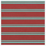 [ Thumbnail: Turquoise and Dark Red Lines Pattern Fabric ]