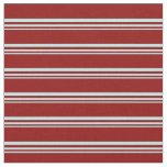 [ Thumbnail: Turquoise and Dark Red Stripes/Lines Pattern Fabric ]