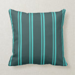 [ Thumbnail: Turquoise and Dark Slate Gray Colored Lines Pillow ]