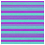 [ Thumbnail: Turquoise and Dark Violet Lined Pattern Fabric ]