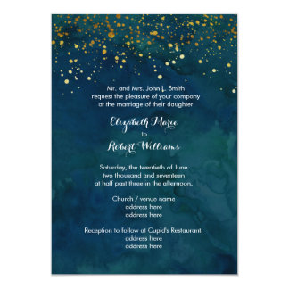 Turquoise and Faux Gold Glitter Card