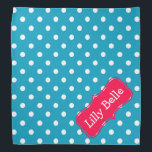 """Turquoise and Flower Pink Polka Dot Personalized Bandana<br><div class=""""desc"""">Cute white polka dots on bright turquoise with a fun Tropical Flower Pink label that you can personalize with your choice of name or special text.</div>"""
